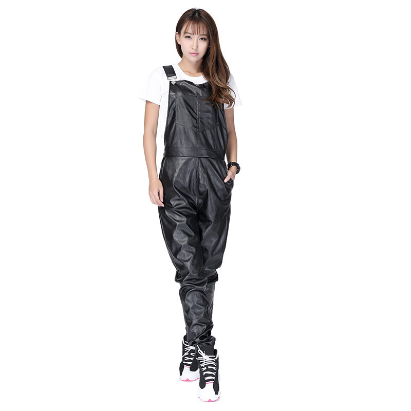 24d354534f50 ... PU Black Hip Hop Streetwear Faux Leather Rompers Jumpsuit For Men. leather  overalls (3) leather overalls (4) ...