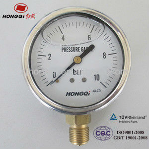 YTN100 glycerin oil liquid filled pressure gauge manometer