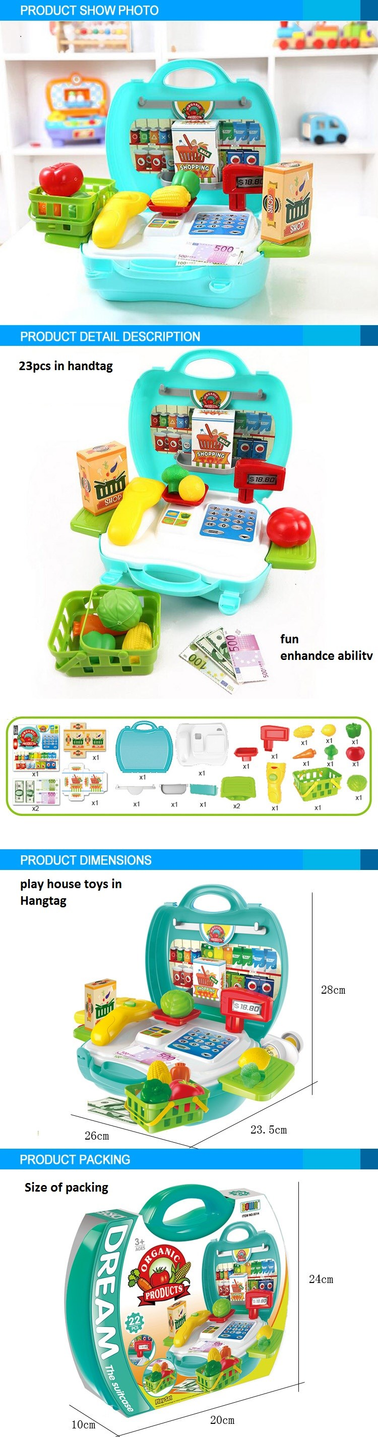 popular product play house plastic fruit supermarket kids toy for selling