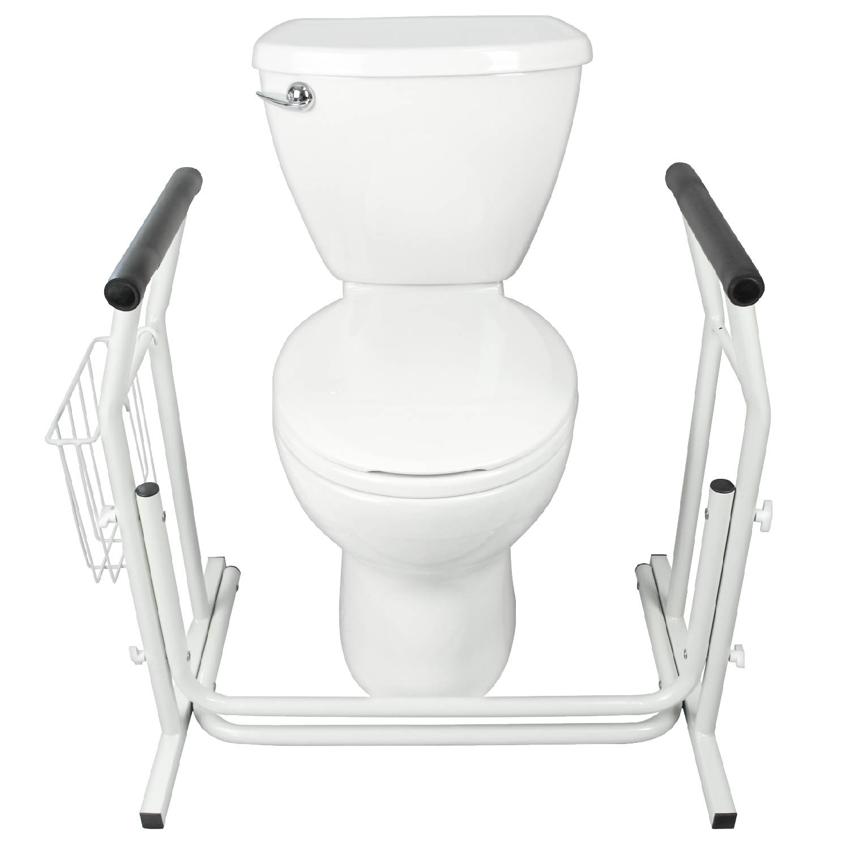 Stand Alone Toilet Rail by Vive - Medical Bathroom Safety Assist Frame w/ Grab Bars & Railings for Elderly, Senior, Handicap & Disabled - Padded Handrails