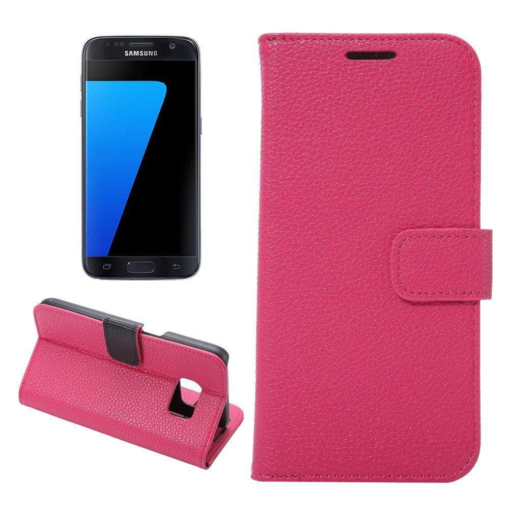 Galaxy S7 Case, IVY [Litchi Stria][Hot Pink]- [Card Slot][Flip Kickstand][Slim Fit][PU Leather][Wallet] - Case For Samsung S7 SM-G930 Devices