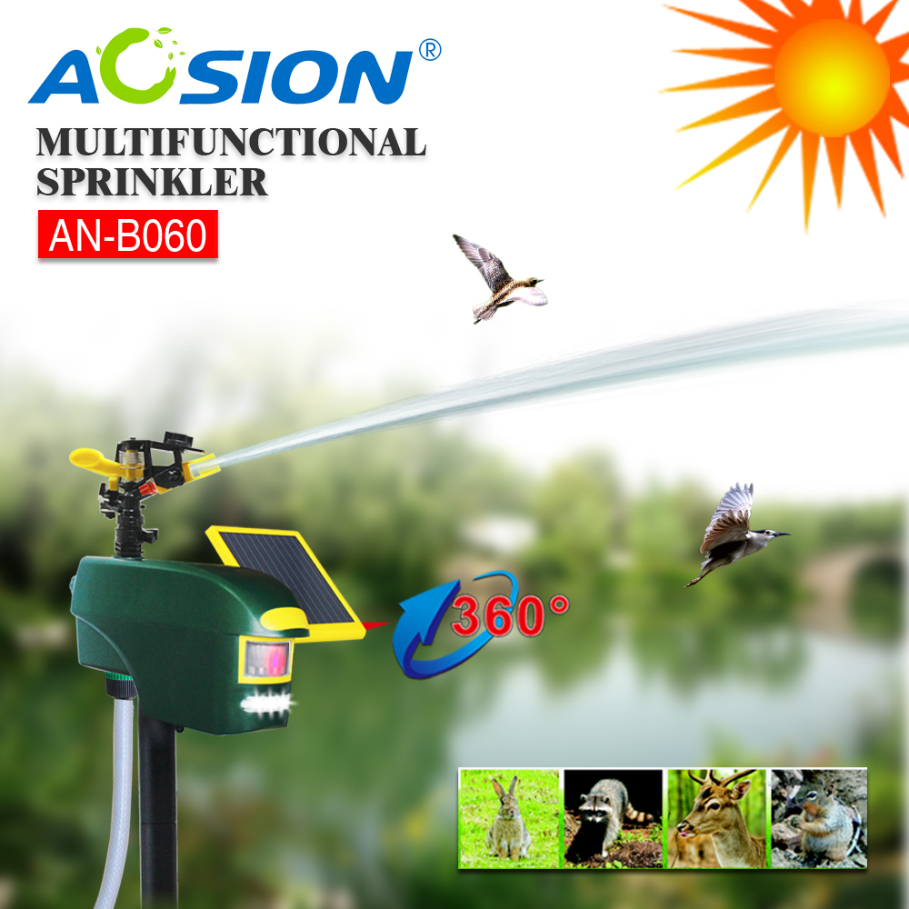 Aosion Farm Scarecrow Solarl Motion Activated Sprinkler Animal Repellent AN-B060