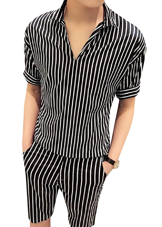 Zimaes-Men Short-Sleeve T-Shirts 2-Stripe Deep V Neck Solid Polo Shirt