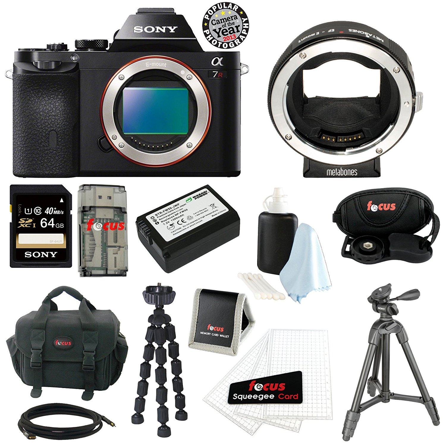 Sony ILCE7R/B ILCE7RB 36.3 MP a7R Full-Frame Interchangeable Digital Lens Camera (Body Only) with Metabones Canon EF Lens to Sony NEX Smart Adapter(Mark III) + Sony 64GB SD Card + Sony Case + Wasabi Power Replacement NP-FW50 Battery + Accessory Kit