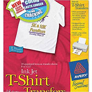 Avery : Personal Creations Inkjet Light T-Shirt Iron-On Transfers, White, 18 Sheets/Pack -:- Sold as 2 Packs of - 18 - / - Total of 36 Each