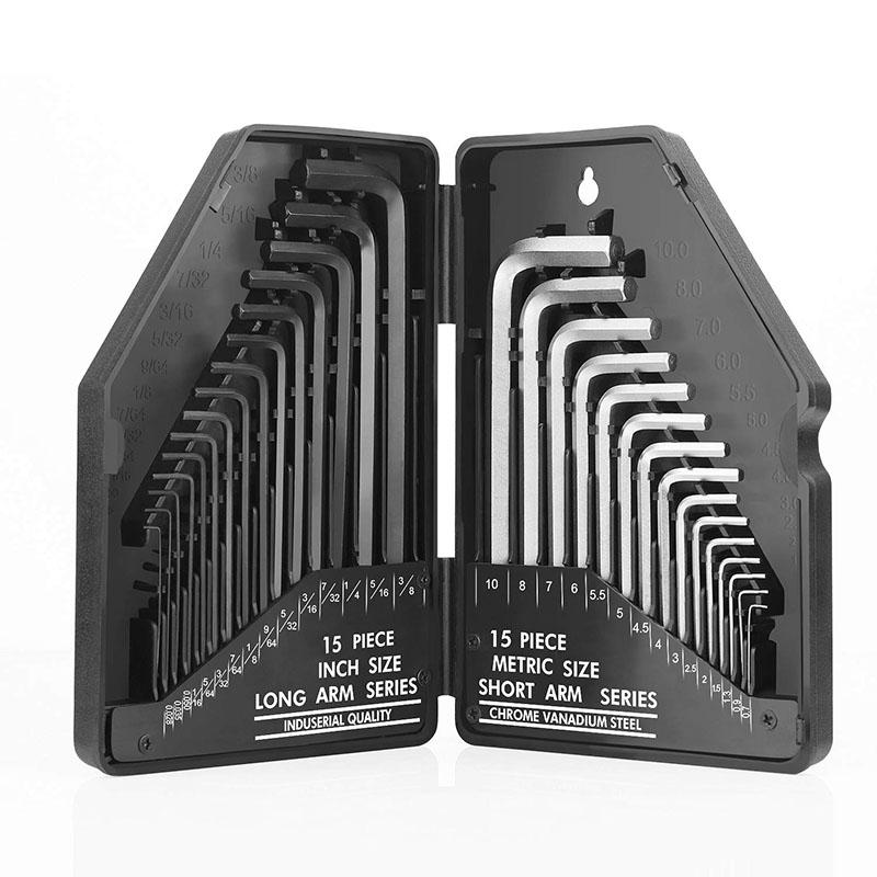 Hex Key Set 30 pieces Hexagonal Wrench Keys Short Arm Metric Long Arm Inches
