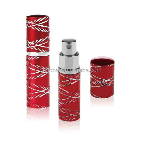 10ml red glass spray perfume bottle, aluminium crystal perfume atomizer