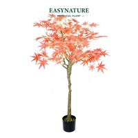 Custom Landscape 130cm Artificial Red Japanese Maple Bonsai Plastic Tree Plants for Decoration