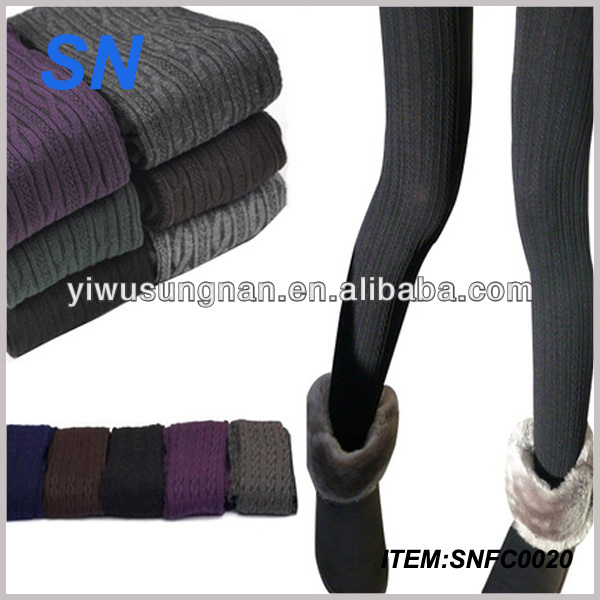 Women Arrival Casual Warm Winter Velvet Legging Knitted Thick Slim Leggings Super Elastic