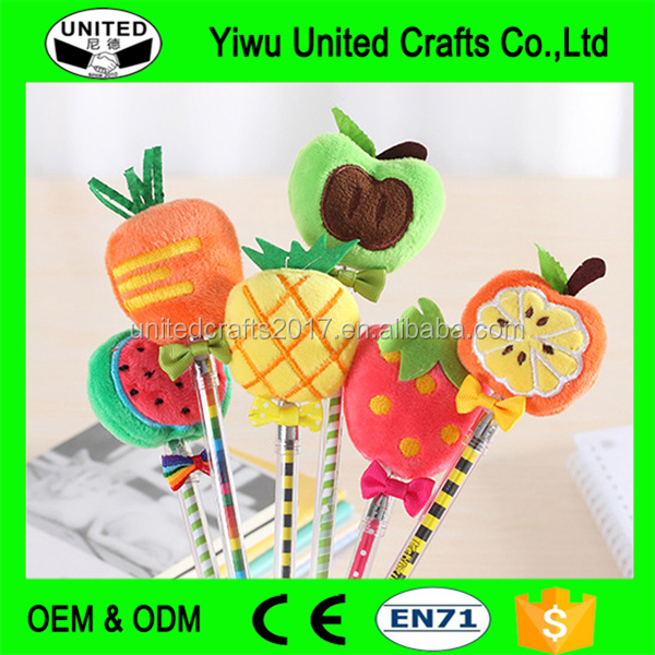 2017 fashion strawberry ballpoint plush pineapple apple pumpkin carrot fruit pen