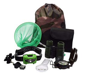Kids Outdoor Adventure Set Nature Exploration Kit Toys Binoculars, LED Headlamp Flashlight, Compass, Magnifying Glass