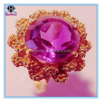 Elegant pink round shaped cubic zirconia rings