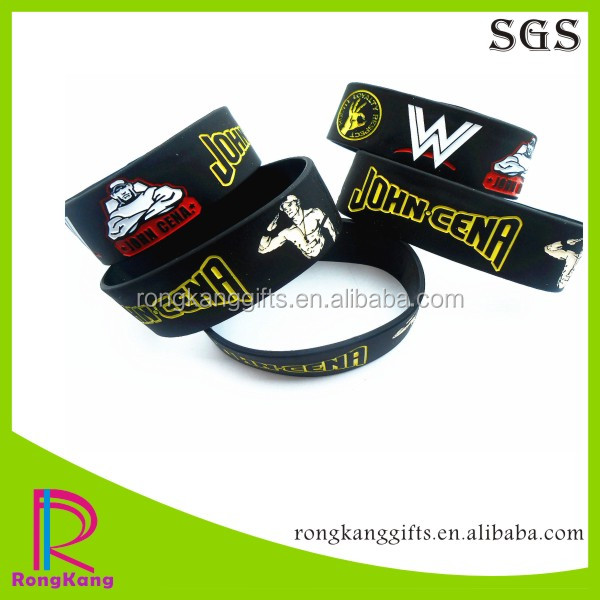 2017 hot selling cheap custom jhon cena 1 inch color filled silicone bracelets