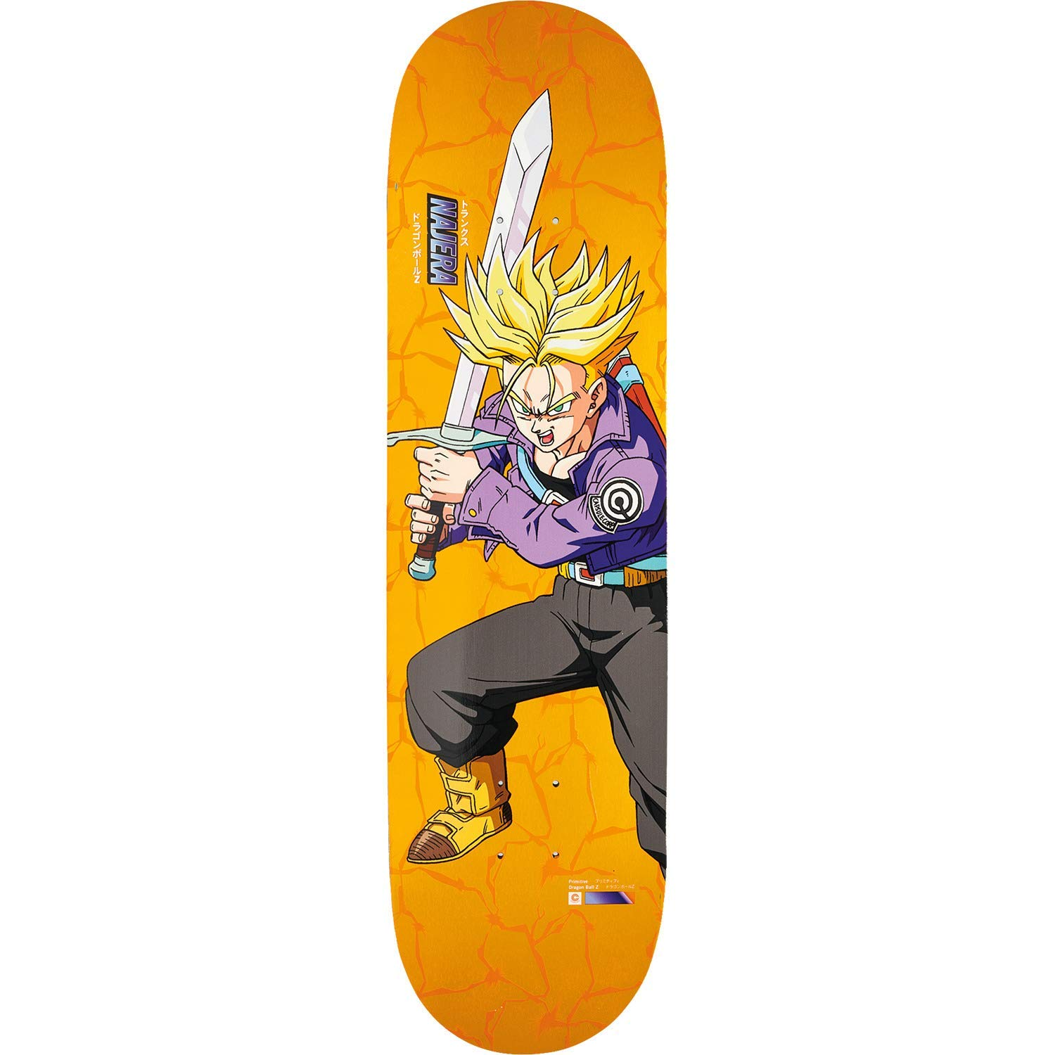 "Primitive Skateboarding Diego Najera Dragon Ball Z Trunks Orange Skateboard Deck - 8"" x 31.5"""