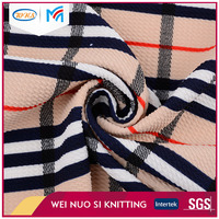 Beautiful design plaid polyester textile jacquard fabric price per meter