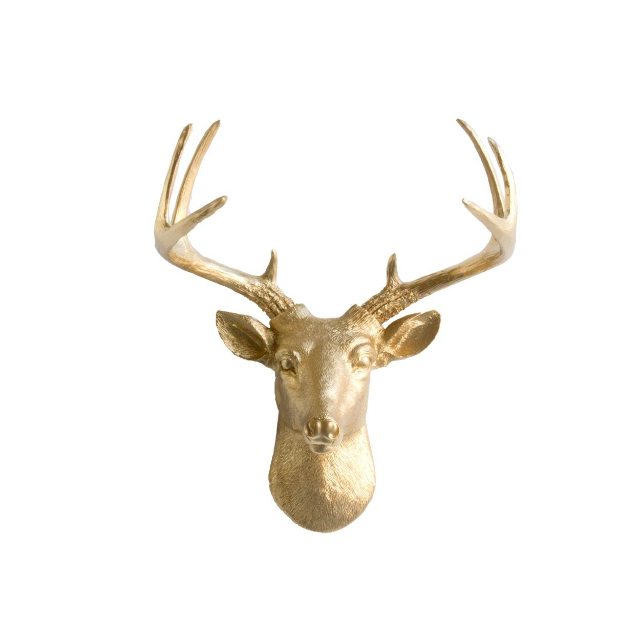 Mini Deer by Wall Charmers | Gold Faux Head Mount Bust Fake Animal Resin Taxidermy Decorative Stag Antler Fauxidermy Replica Decor Buck Art