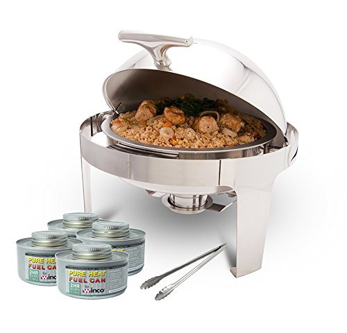 PrestoWare PWR-1RR, Round Roll-Top Chafer with Stand, Stainless Steel 5 Quart Chafing Dish Set with 4 Chafing Dish Fuels and 16-Inch Stainless Steel Multi-Function Tong