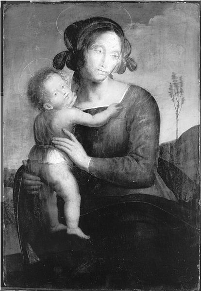 Canvas Art Prints Stretched Framed Giclee World Famous Artist Oil Painting <font><b>Italian</b></font> Umbrian Madonna Child