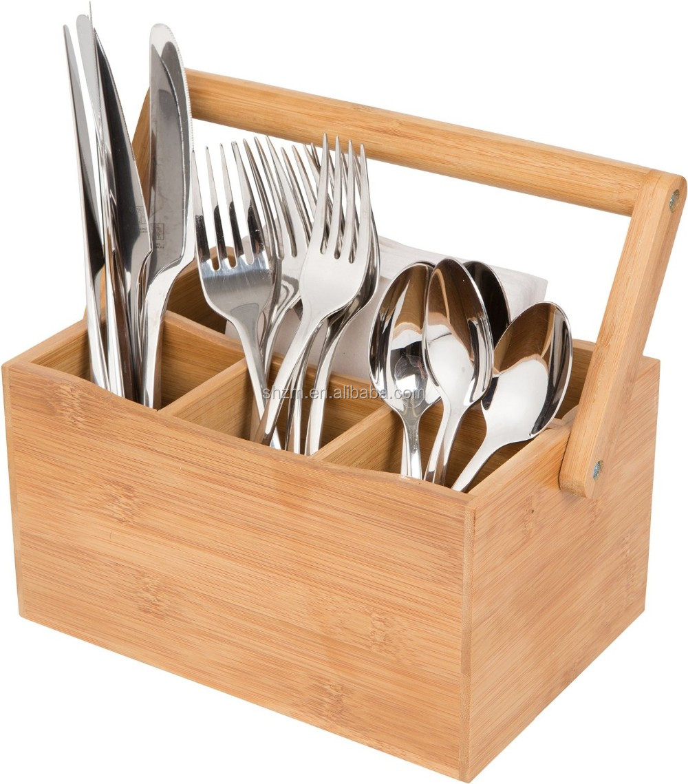 Camping Portable Bamboo Utensils Storage Box, Kitchen Tableware Organizer