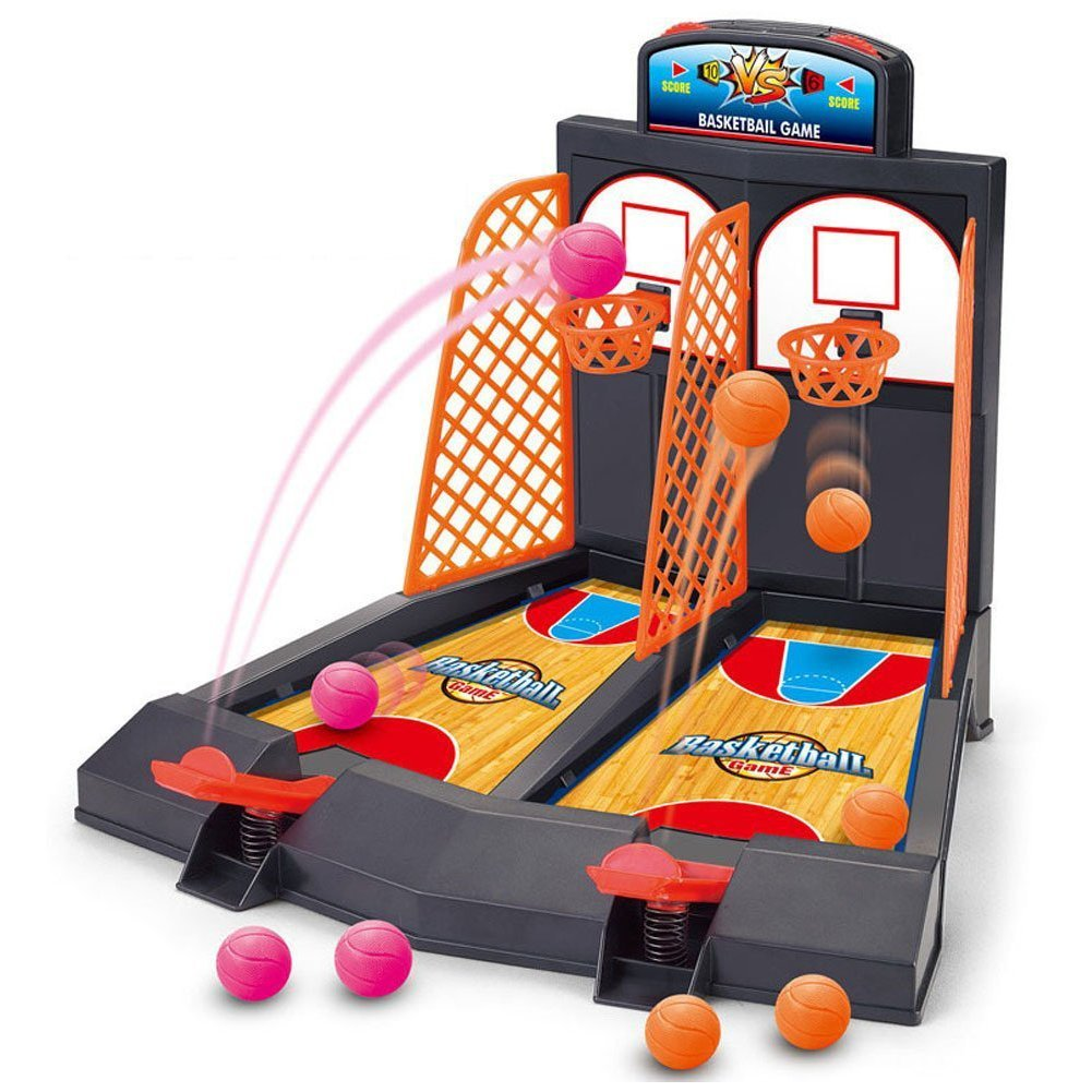 2-Player Basketball Shooting Game, UPmall Desktop Table Basketball Games Classic Arcade Games Basketball Hoop Set, Best Gift for Parents-time