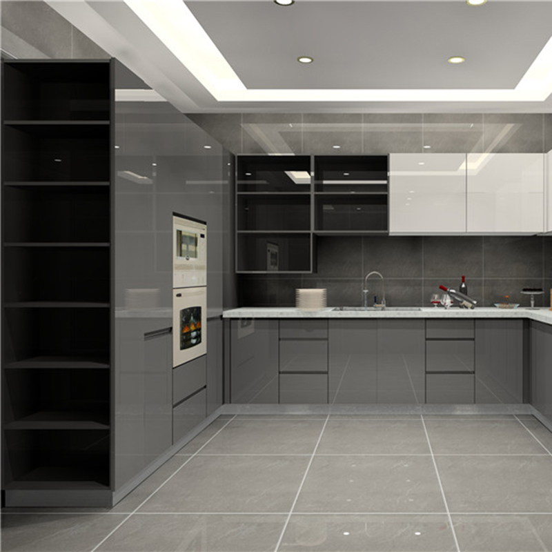 White Kitchen Cabinets High Gloss: High Gloss Finish Kitchen Cabinet Grey Base Cabinet And