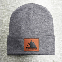 wholesale adult size custom leather patch beanies