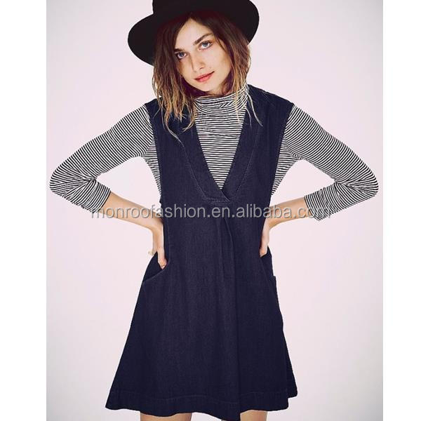 monroo Women casual style v neck bonnie jean dresses