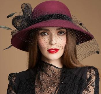 High Quality 100% Wide Brim Hat Custom Womens Wool Felt Hats ... 7a6c3158720b
