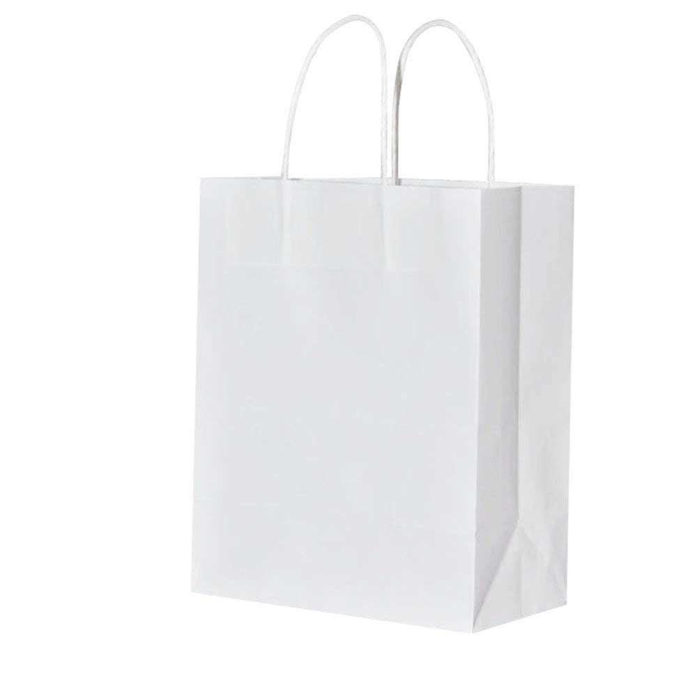 Thicker Paper White Shopping Bags 8x4.75x10 Inch Bagmad Medium Kraft Paper Bags with Handles,Natural Party Retail Gift Craft Bags,25Pcs Count