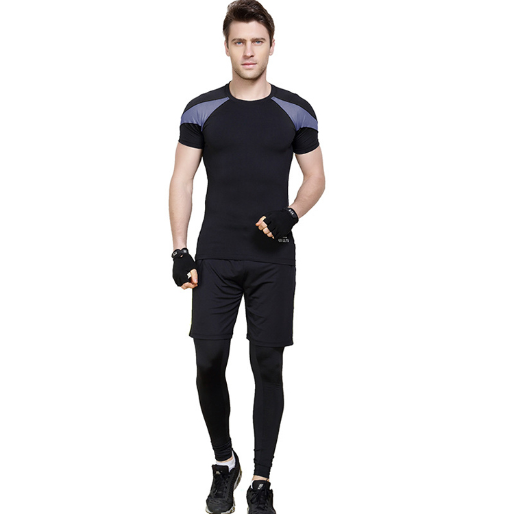 mens athletic wear fitness clothing three pieces compression shirt pants tracksuit short sets for men