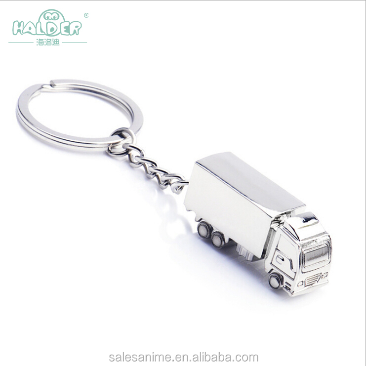 Wholesale Creative cartoon truck silver alloy stainless steel keychain can be customized LOGO