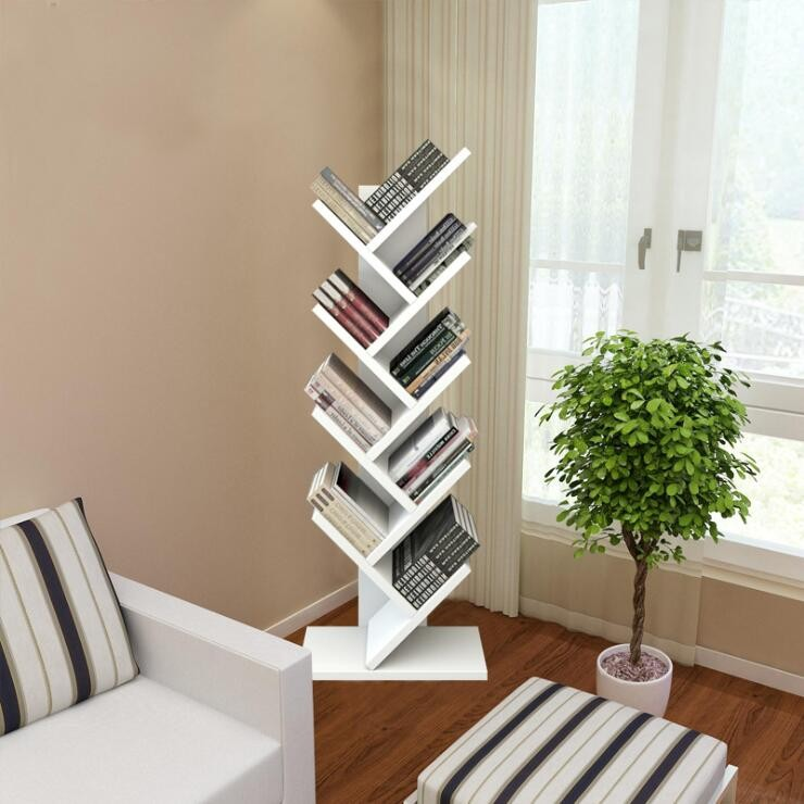 Factory Whole Diy Modern Triangle Movable Tree Shaped Wooden Bookshelf
