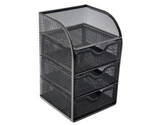 Wideny office Mesh Cute Desk Accessories Organizer Caddy 3 Drawer Mini Hutch