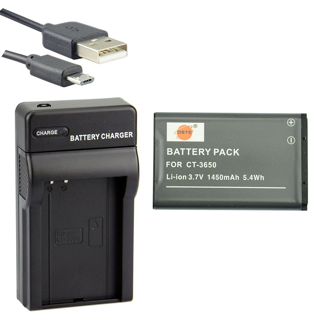 DSTE CT-3650 Li-ion Battery and Micro USB Charger Suit for Contour GPS HD 1080P