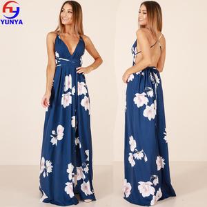 37525174ba0 2018 Wholesale summer beach vacation sexy deep v neck backless long floral maxi  dress