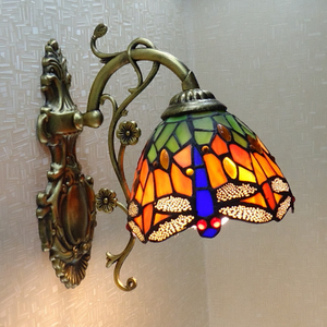 Wholesale Factory Tiffany Dragonfly Stained Glass Wall Bracket Lamp Bedroom Balcony Wall Sconces Lights Home Bar Decor Lamparas