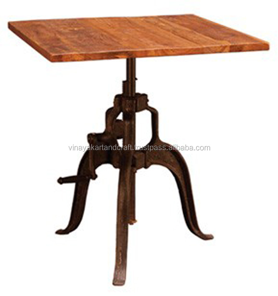 Industrial Crank Table Vintage Industrial Crank Tablesquare Wood Topvintage Industrial .