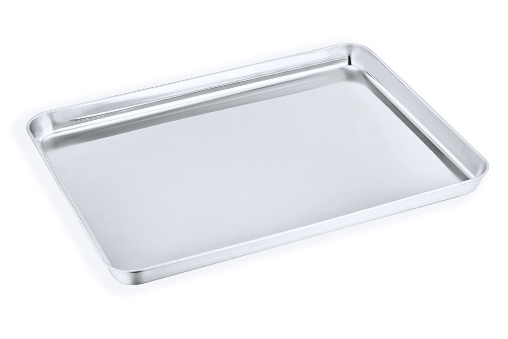 Toaster Oven Tray, P&P Chef Stainless Steel Toaster Oven Pan, Rectangle 8''x10''x1'', Non Toxic & Healthy, Rust Free & Dishwasher Safe, Mirror Finish & Easy Clean