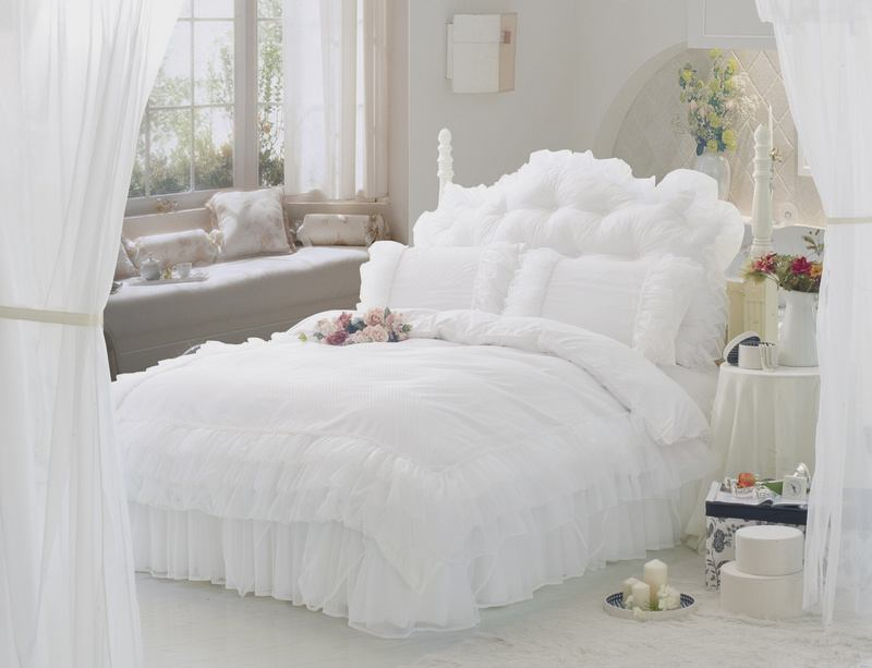 Luxury Snow White Bedding Sets Queen King 4pcs Lace Ruffle