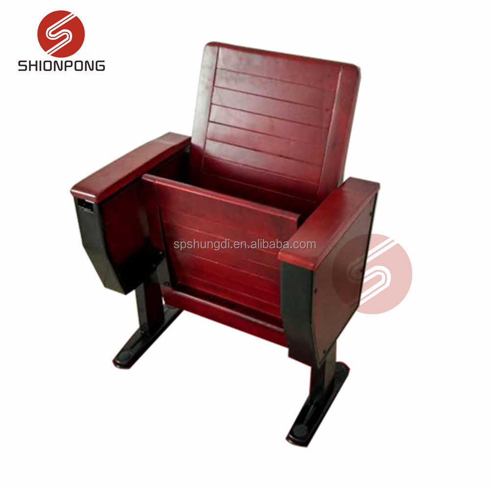 wood public chairs auditorium hall seating school lecture chair with writing pad