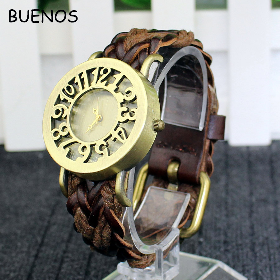 Korean Vintage Hollow Woven Leather Bracelet Watch Unisex