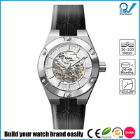 Brushed case skeleton dial Japan Miyota 8N24 movement automatic skeleton watches 46mm