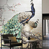 Art Pictures wall decoration ideas peacock pattern glass mosaic mural pattern