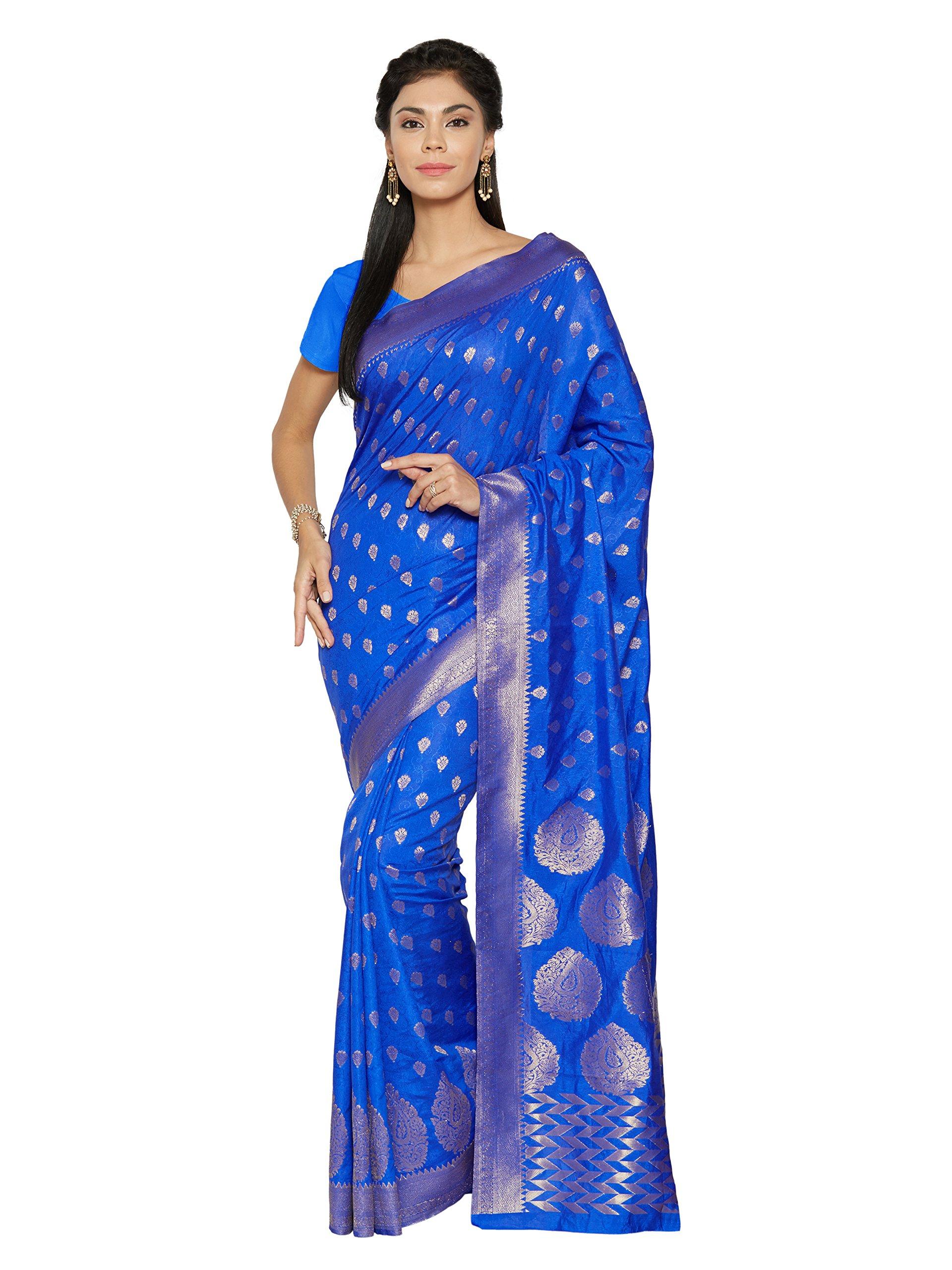 Shonaya Women's Bhaglpuri Art Silk Printed Saree With Unstitched Blouse Piece (Blue)