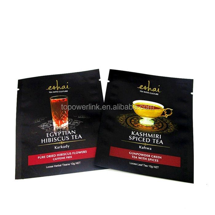 Logo Printed Three Side Seal 10G Green Tea 10G Black Tea Packaging Bag