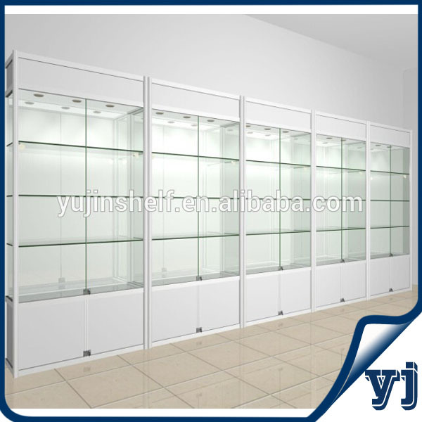 Guangzhou Yujin Shelf Display White Color Lighted Modern Glass ...