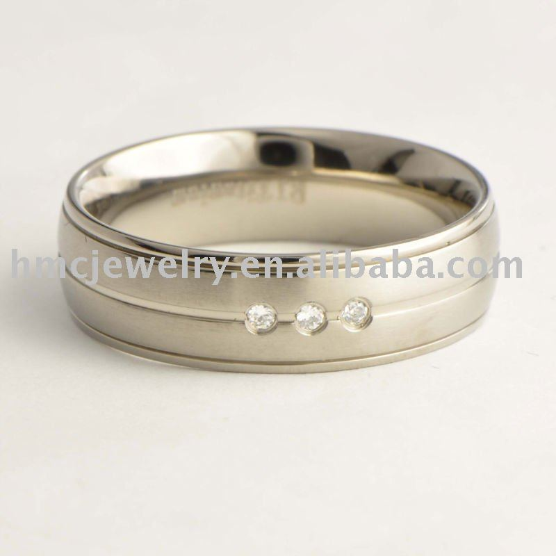 7Mm Clear CZ 3 Stones Titanium Ring Men Jewelry Wedding Band All Size