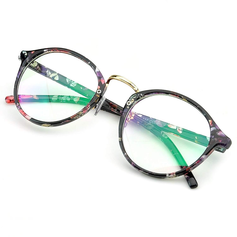 PenSee Vintage Inspired Eyeglasses Frame Round Circle Clear Lens Glasses