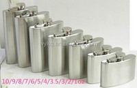 MOQ:100pcs--1/2/3/4/5/6/7/8/9/10/48/64oz matte polish hip flask/flagon/wine pot