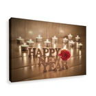 Happy New Year Home Decor Canvas Painting Wall Art With LED Light Candle